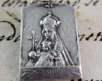 Antique Our Lady of Montserrat and Sacred Heart Religious Medal - Silver- Spain