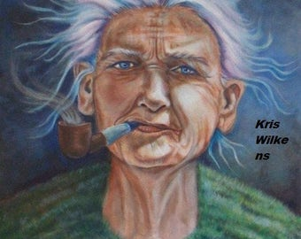 Auntie Sal -Digital Download of an Original Portrait of  Woman Smoking a Pipe