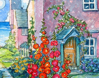 Pretty in Pink by the Bay Storybook Cottage Series print from original Watercolor 5 by 6 inches