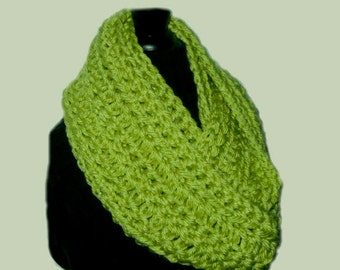 Lime Green Infinity Scarf Cowl Chunky Crochet Infiniti Bright Lime Green Scarf Hand Made in USA