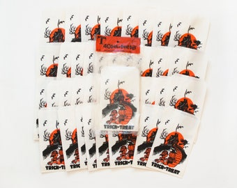 Set of 35 Vintage Halloween Treat Bags, 1960s Trick or Treat Paper Party Favor Giftbags with Original Package, Topstone Industries
