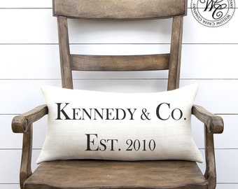 Personalized WEDDING Gift, BURLAP PILLOW Cover, Pillow with Last Name and Established Date, tiffany & co
