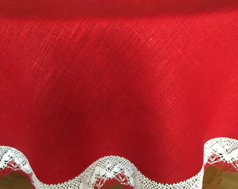 Round Tablecloth Linen Red White Lace 63 inches