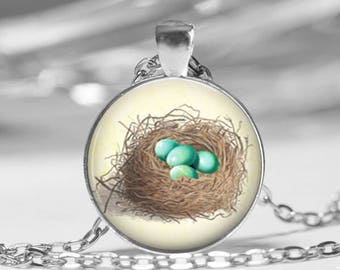 Yellow Bird Nest Springtime Glass Photo Necklace or Key Chain Blue Eggs Spring Jewelry Pendant