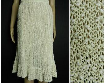 60s 70s HAND LOOMED Irish linen cream crochet knit oatmeal fluted midi skirt PALLAS Originals boho hippie u.k. 8 - 10 sm m
