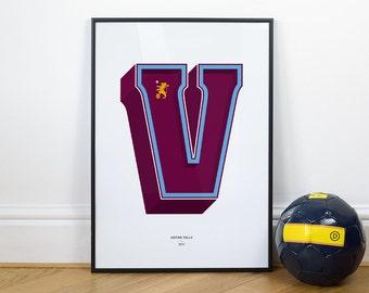 V is for Villa (Aston Villa), Football Typography Print