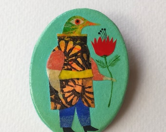 "Brooch ""Bird Costumes"" series hand-painted."