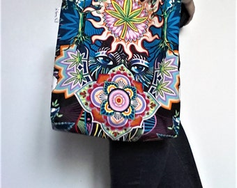 """""""Bag Tote""""Sandy Bag Mask""""fabric patterns pimp and rosettes"""" - cotton lining - electric and multicolored colors"""