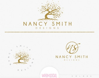 Scattered artistic tree - Premade Photography Logo and Watermark, Classic Elegant Script Font GOLD GLITTER TREE childrenCalligraphy Logo