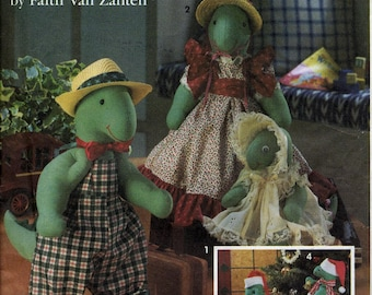 Dressed Dinosaur stuffed animal patterns, Simplicity Crafts 8203, 10 to 15 inches tall, Christmas variations