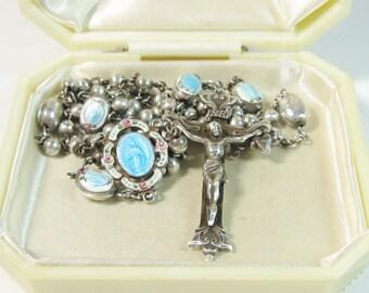 Rare Rosary Sterling Enamel Guilloche 1930s Creed Catholic Prayer Beads Necklace Bridal Wedding Original Box
