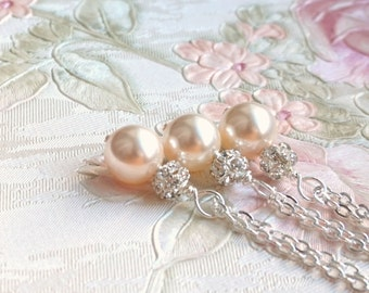 Blush Necklace, Bridesmaid Gift Jewelry, Creamrose Swarovski Pearl Necklace Pale Pink Necklace Bridesmaid Gift Pink Flower Girl Jewelry