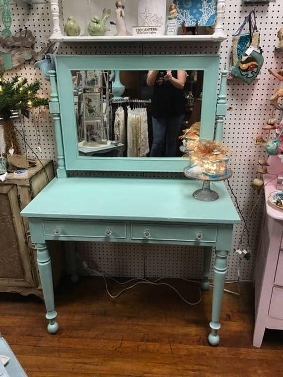 Vintage Vanity Restyled Shabby Chic Blue