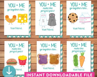 Funny Valentine Cards - INSTANT DOWNLOAD - Printable - Write-in - Kids Perfect Pair - Modern