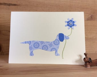 Daisy The Dachshund blank card