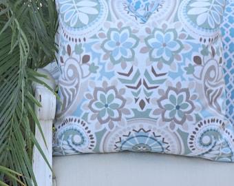 Waverly Paisley Prism Latte Pillow 20x20 Accent Pillow Decorative Pillow Toss Designer Custom Linen Pillow