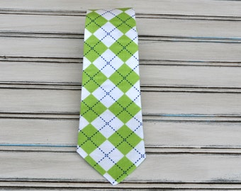 Green Argyle Tie for Men, Youth, Boys
