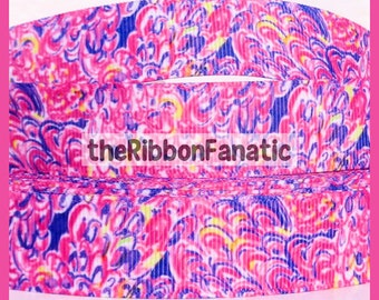 """5 yds 7/8"""" Fabric Inspired  Lagoon in Pink Grosgrain Ribbon"""