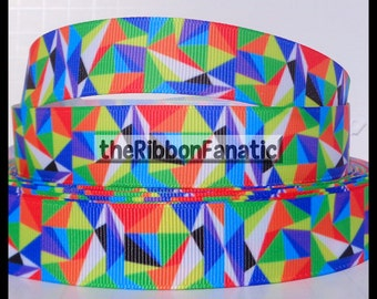 "5 yds 7/8"" Bright Geometric Kaleidoscope Pattern Grosgrain Ribbon"