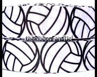 "5 yds 1.5"" Volleyball Black Repeat on White  Grosgrain Ribbon"