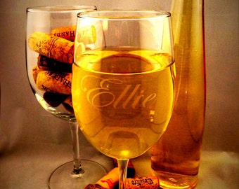 SUMMER SALE ends 8/30 5.99 Personalized Custom Engraved 17oz White Wine Glasses.