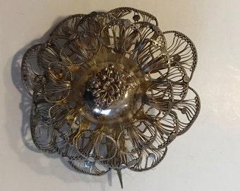 Vintage silver tone filigree flower brooch