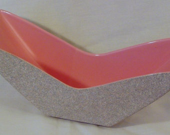 Shawnee Pottery Pink  and Gray Console Dish, Mid century, USA