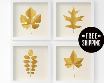 Gold Leaves – Original Acrylic Paintings – Set of 4 Leaves of your Choice – Handmade – 6 Metallic Shades – Gift for Her – 3 Sizes – Unframed