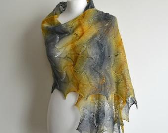 Multicolor hand knitted lace shawl merino scarf rectangular handmade gray yellow green