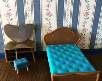 Blue Box Vintage Dolls House Bedroom Set 1960s