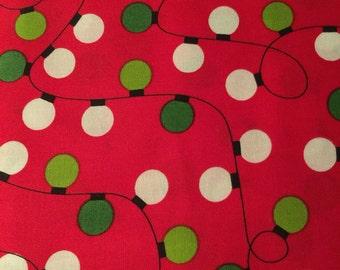 Christmas Holiday Fabric Lights Bulbs -Jingle by Ann Kelle for Robert Kaufman-Great for Table Cloth, Runner, Tree skirt or Yardage