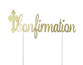 Confirmation Cross Cake Topper- Any Color Glitter-Religious