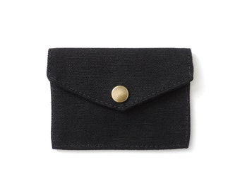 Minimalist Canvas Wallet Slim Snap Wallet Black