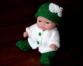 "Lots To Love, Berenguer, Miniature Tiny Doll - Too Cute For Words Irish Baby - 5"" Tall - Green & White Hand Knit Outfit"