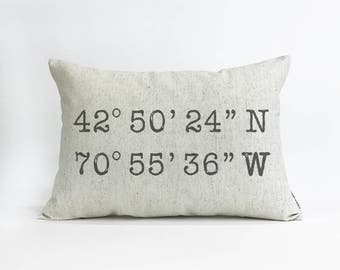 Custom Coordinates Linen Pillow, Latitude and Longitude, New Home Gift, Realtor Closing Gift, Throw Pillow, Home & Living, Home Decor