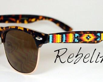 SALE Beaded Sunglasses Rimless Tortoise Shell Fire
