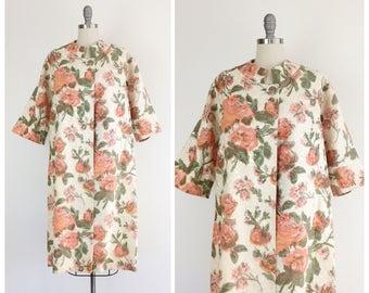 60s Floral Brocade Swing Coat / 1960s Vintage Spring Jacket / Medium - Large