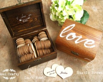 """52 reasons """"I love you because ..."""" Wooden Heart Message Rustic Gift Box Valentine Mothers Day Wedding Anniversary For Him For Her Gift"""