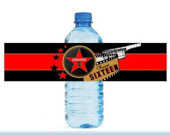 Hollywood Water Bottle Label - Digital or Printed