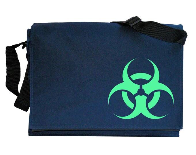 Biohazard Toxic Waste Symbol Glow in the Dark Navy Blue Messenger Shoulder Bag
