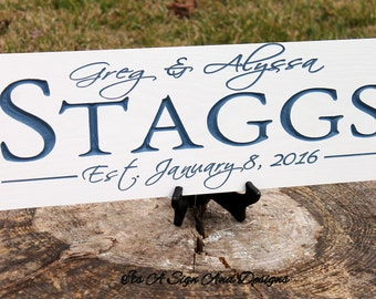 Personalized Family Name Sign, Wedding Signs, Wedding Gift, Wedding Sign, Couples Gift, Wedding Gifts for Couple His and Hers, Gift for Wife