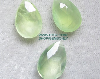 1pc Prehnite briolette stone 10x15mm side drill .50mm wire jewelry for pendent drill hole mint color green prehnite pear shape almond 10x15