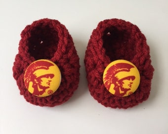 USC baby booties, Trojans baby booties, USC baby gift, baby shoes, crochet baby booties, booties for baby, crochet baby shoes