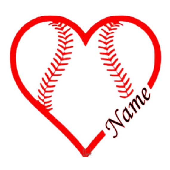 Softball Heart With Customized Name Vinyl Decal From