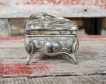Antique Art Nouveau Cast Pot Metal Jewelry Casket