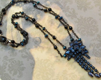 Navy and Black Two Strand Necklace Repurposed Vintage