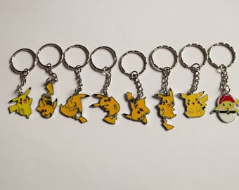 Set of 8 Handmade POKEMON PIKACHU Inspired Keyrings Handbag Charm Keychain Cosplay