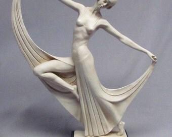Vintage Art Deco Sculpture of Dancer or Ballerina Figurine Signed A. Santini