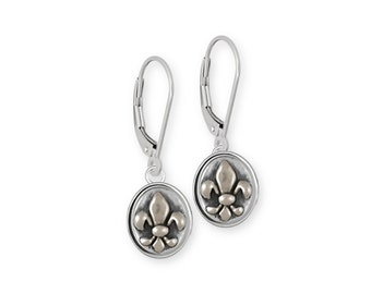 Fleur De Lis Earrings Jewelry Sterling Silver Handmade Flower Earrings FD17-KW