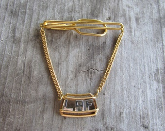 Classic Two Toned Monogrammed Tie Bar - Letters LAF, Silver and Gold Tone